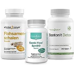 SIMPLE CLEAN | Schonende Darmreinigung und effektiver Aufbau der Darmflora | mit Bentonit Detox, Combi Flora SymBIO und Flohsamenschalen (4-Wochen-Kur)
