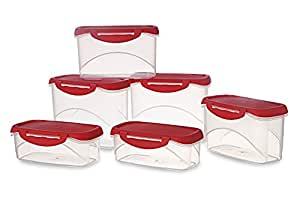 All Time Plastics Delite Container Set, 6-Pieces, Red
