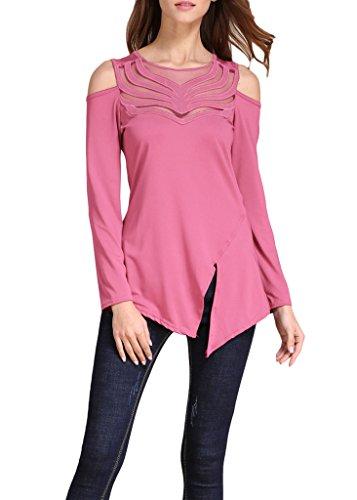 Smile YKK Blouse Femme Chic T-shirt Epaule Nue Chemise Col Rond Top Manches Longues Soirée Eté Rose