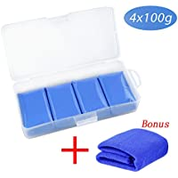 fixget Auto lavado plastilina, 5pcs Clay Bar Kit Magic Clay Bar Limpiador 400 g, Azul Clay Bar Kit Bonus con microfibra paño de limpieza para varios rígida ...