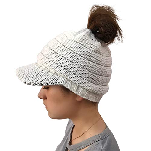 FeiBeauty Herbst und Winter Damen Strickmütze Mode Hip Hop woolen Street Dance Kappe Trend Haufen Kappe hohlen Pier Pony Cap -