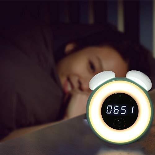 OUSENR Lámpara De Mesa De Luz Nocturna Led Recargable Con Reloj Despertador Digital Sensor Inteligente De Cabecera Regulable Lámpara Lámparas Seta De Silicona,Verde