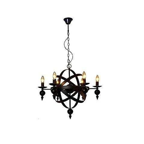 Noir Industriel Cru Lustre Luminaires de Plafond Ajustable Lampe Suspension Suspendue Globe Flush 6 Lumières , ronde