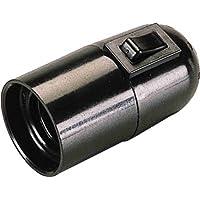 Electraline 71106 - Casquillo E27 con interruptor, color negro