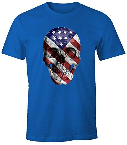 Herren T-Shirt - USA Amerika Flagge Skull Totenkopf - Comfort Fit MoonWorks® Royal