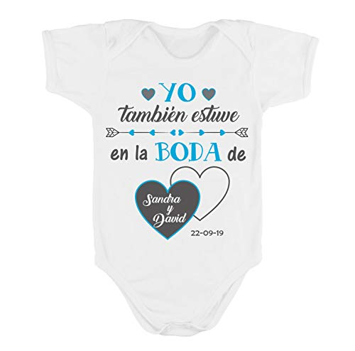 Kembilove Body Boda Personalizado - Body Personalizado Yo También Estuve en la Boda - De Algodón Ultra Suaves y Cómodos - El Regalo Perfecto para Embarazadas o recién nacidos (Mod-13-M corta, 0-3 M)