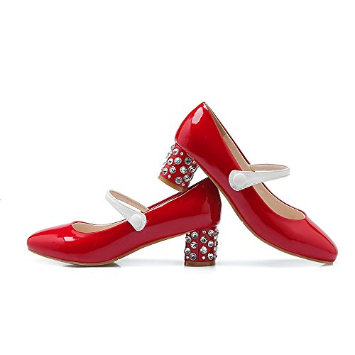 VogueZone009 Donna Tirare Punta Quedrata Punta Chiusa Tacco Medio Pelle Di Maiale Colore Assortito Ballerine Rosso