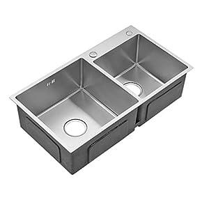 AuraLum 78 x 43CM Fregadero (Acero Inoxidable201,2 Orificios de Montaje, 2 Senos) Fregadero de Cocina Lavabo Fregadero…