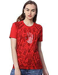 Wolfpack Red Round Neck Short Sleeve 100% Cotton Girls/Womens T-Shirt - Hands All Over