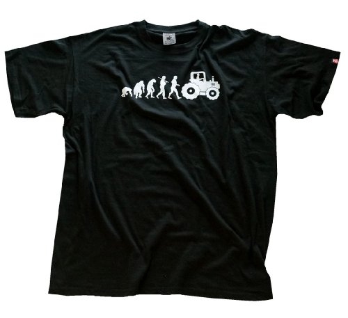 Shirtzshop T-shirt Standard Edition Traktorist Evolution Trecker Traktor, Schwarz, M, 4052718680636