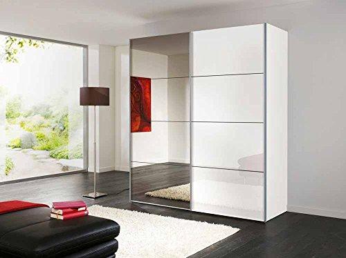 lifestyle4living 2-TRG. Schwebetürenschrank in Polarweiß 1 Spiegelfront u 1 weiß-lackierte HG Front, 2 Kleiderstangen u 2 Einlegeböden, Maße: B/H/T ca. 200/216/68 cm