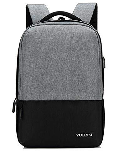 Laptop Rucksack,Casual Rucksack Oxford Tuch Schulter Herrenmode Hit Farbe Verschleißfesten Anti-Diebstahl-USB-Laderucksack, Grau Daypack Schulrucksack Backpack