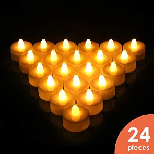 LED-Teelichter, 24Stück, batteriebetriebene Kerzen, plastik, cremefarben, LED Tea Light, 2G11...