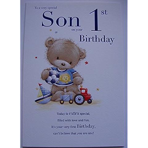 Hijo 1st Tarjeta de cumpleaños Edad uno 7808