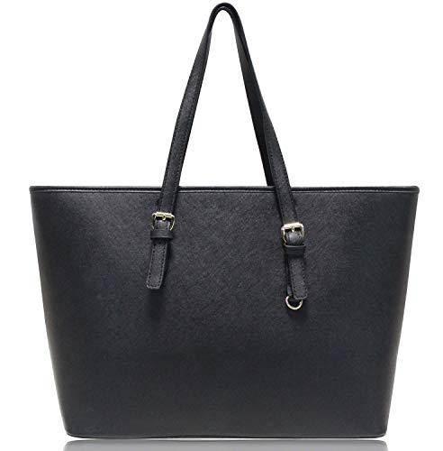 Vanessa & Melissa Damen Shopper Handtasche Schwarz Groß aus hochwertigem PU in klassischem Saffiano Look
