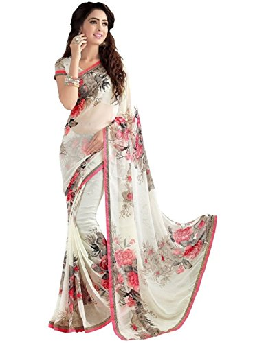 Vivera Women's Georgette Saree With Blouse Piece (Vrprint_Flower77 ,White Free Size)