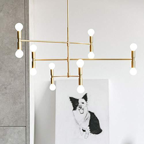 J.Lamp 12 Lichter Modern Kreativ Pendelleuchten LED Persönlichkeit Kunst Deckenleuchten Minimalistisch Kronleuchter mit Fixture Flush Mount, Gold Finish -