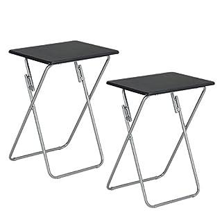 Aingoo 2 er set Klappbar Beistelltisch Metallgestell mit Holztischplatte sehr Platzsparend und Robust, kann auch als Campingtisch,Klein Kaffeetisch,Gartentisch,Arbeitstische