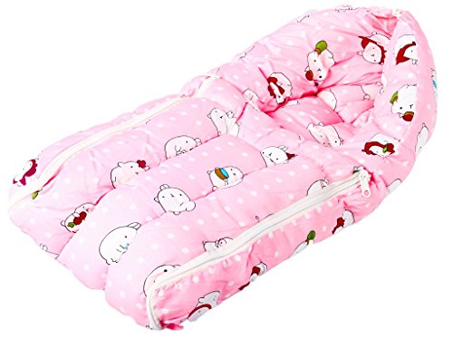 Baybee Baby Comfo Sleeping cum Carry Bag Mixed Print (Pink)