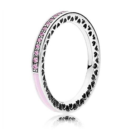 Pandora Damen-Ring 925 Silber Zirkonia rosa Gr. 52 (16.6) - 191011PCZ-52 (Pandora Eine Liebe Ring)