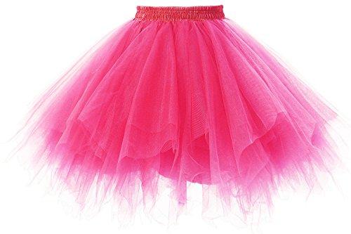 Poplarboy Damen Kurz 50er Vintage Petticoat Mehrfarbengroß Unterröcke Braut Crinoline Ballett Tutu Ball Underskirt Fuchsie (Jazz Kostüme Online)
