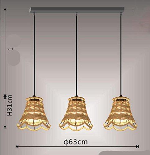 Suspensions 111V ~ 240V (inclus) E27 rétro industriel Loft petite fleur-forme pure tissé à la main chanvre corde pendentif lumières, taille D260 * H240 (mm), 3 head B