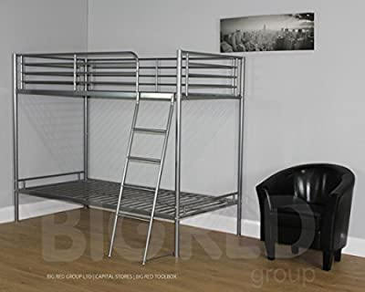 3ft Single Bunk Bed - Silver Metal Frame