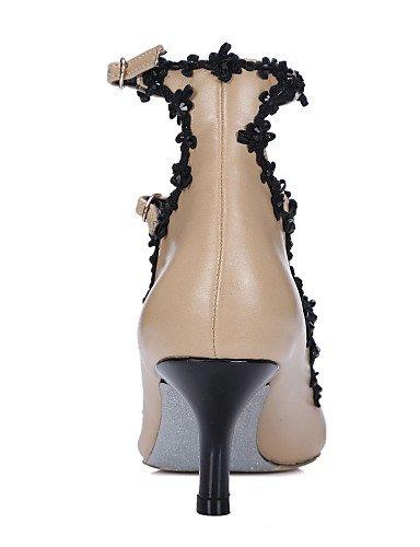 WSS 2016 Chaussures Femme-Habillé / Décontracté / Soirée & Evénement-Amande-Talon Cône-Talons / Bout Pointu-Talons-Cuir almond-us7.5 / eu38 / uk5.5 / cn38