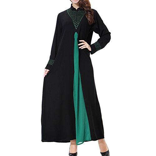 Meijunter Muslim Damen Lange Ärmel Spleißen Kaftan islamisch Mittlerer Osten Bekleidung Maxi Kleid Abaya Dubai Hochzeit Cocktail Abendkleid Türkisch Lose Robe,TH901