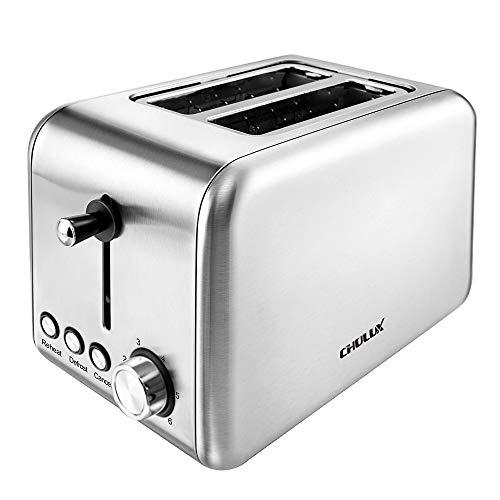 CHULUX Toaster 2 Scheiben Edelstahl, Auftauen, Aufwärmen und Abbrechen Funktionen, 6 Bräunungsstufen, Krümelschublade 850 Watt Silber