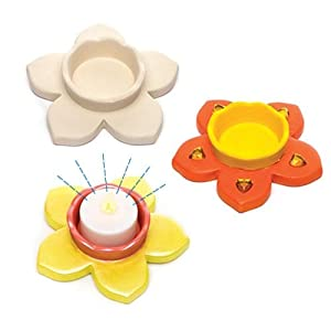 Daffodil Ceramic Tealight Holders For Kids Perfect For Spring Arts, Crafts And Decorating For Boys And Girls (Pack of 4)