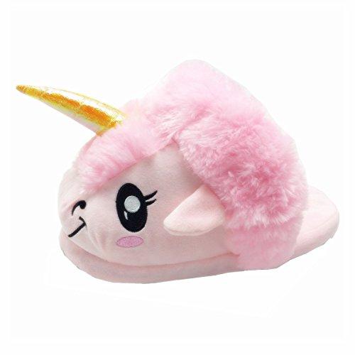 JYSPORT Chaussons Licorne Peluche Pantoufles Unicorn Hiver Coton Slipper - pointure européenne: 36-41 U-pink