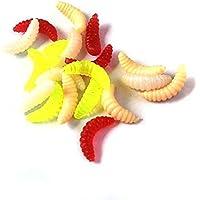 Mengonee 100pcs cebos de Pesca del Gusano de Silicona cebos biónicos Señuelos de los Pescados Suaves Color al Azar