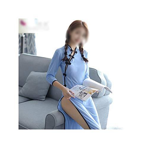 Chenyuan Sexy Dessous Perspektive Side Fork Uniformen Folk Style Student Wear Sexy Cheongsam Nachthemd für Frauen (Size : Einheitsgröße) -