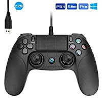 Powcan PS4 Controller Wired Controller for Playstation 4 Dual Vibration Shock Joystick Gamepad for PS4/PS4 Slim/PS4 Pro and PC(Windows 7 / 8 / 10) with 2.2M Long USB Cable, Black