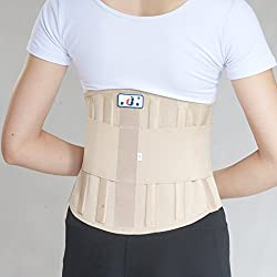 Generic Beige, M : Double Pull Lumbar Support Lower Back Belt Brace Band Waist Four aluminium strips Protection Back Waist Support Belt YW-01M27
