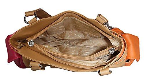 Butterflies Designer Damenhandtasche Kunstleder Schultertasche Geldbeuteltotalisator Braun mit Orange und Magenta