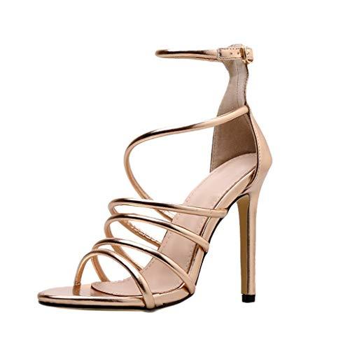 MEIbax Damen Pumps Stiletto High Heels Sandaletten Schnalle Strap Party Zehe Super Hohe Spike Heel Sexy Schuhe Party Schuhe, 11cm Spike Heel