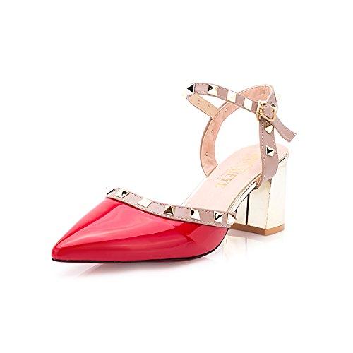 fan4zame Sandalen Frauen Spitz Heels Heels Nieten Schnallen Leder Schuhe Frauen High Heels 7,5cm Cool bequem atmungsaktiv Sandalen 37 red H