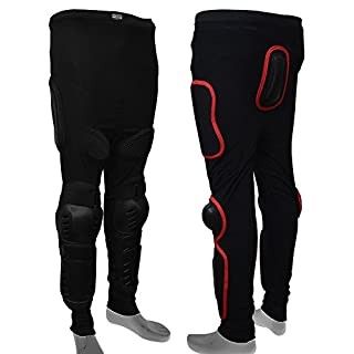 AQWA Body Armour Skiing Skating Snowboards Motocross Motorcycle Protection Trousers (Black/Red, Large)