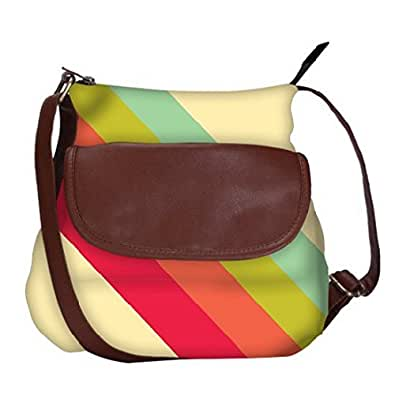 Snoogg Pastel Stripes Vector Casual Spacious MultiPurpose Sling Bag Carry Around