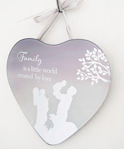Famiglia Targa a forma di cuore da appendere, Specchio Targa Citazioni grande cover casa regalo