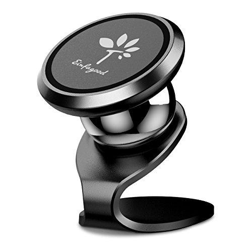 Magnetischer Handyhalter, Einfagood Navigation Halterung mit starken wiederverwendbaren Klebepads/Magic Pads, verbesserter Kleber, hitzebeständig, großer Neodym Magnet Ring, Schwarz