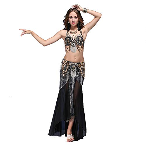 Bangxiu-Belly Dance Bauchtanz Kostüm Frauen Bauchtanz BH und Gürtel Tanzen Röcke 2pcs Bauchtanz Kostüm Tribal Style Performance Kostüm Kostüm Sexy Tanzkleid-Outfit (Farbe : Schwarz, Größe : S) (Sexy Tribal Kostüm)