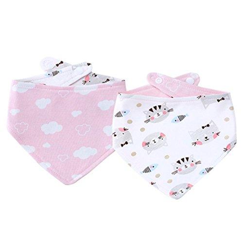 Baby Lätzchen, Isuper Baby Dreiecktuch mit Druckknopf für Sabbern und Zahnen Beidseitiges Lätzchen, Katze