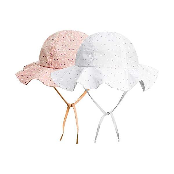 FANTESI de 2 Piezas Sombrero de Protección Solar para Bebé, UPF 50+ UV Ray Baby Summer Hat Sombrero de Protección Solar… 3