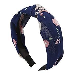 Jiamins Damen Neu verknotete Stirnbänder Breit Haarbänder Turban Verdreht Elastisch Vintage Floral Haarschmuck