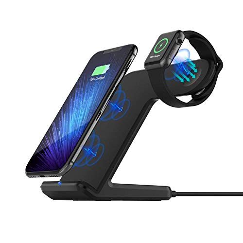 Sararoom 2 in 1 Qi wireless caricatore, supporto di ricarica wireless veloce (3 bobine 10 W 7.5 W 5 W) docking station per Apple Watch/iPhone 8/X/XS/XMax Galaxy S9/S8/S7 Edge