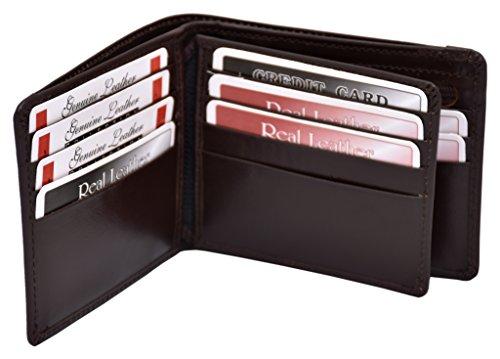 ES Trader Mens Luxus echt Original Leder weichen Qualität Brieftasche Bifold Münze Tasche, AA0019, 12 cm, schwarz braun
