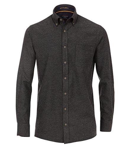Casa Moda - Comfort Fit - Herren Flanell Freizeit Hemd in Anthrazit oder Blau (472857000), Farbe:Anthrazit (750), Größe:5XL (Button-down-flanell)
